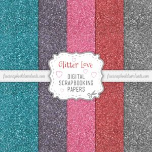 Digital Glitter Valentine's Day Scrap Papers