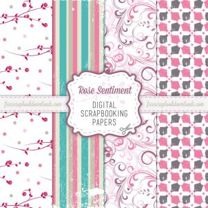 Rose Sentiment Scrapbook Papers