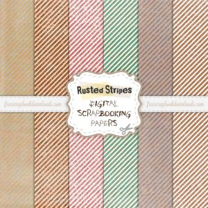 Grunge Rusted Striped Scrapbook Papers