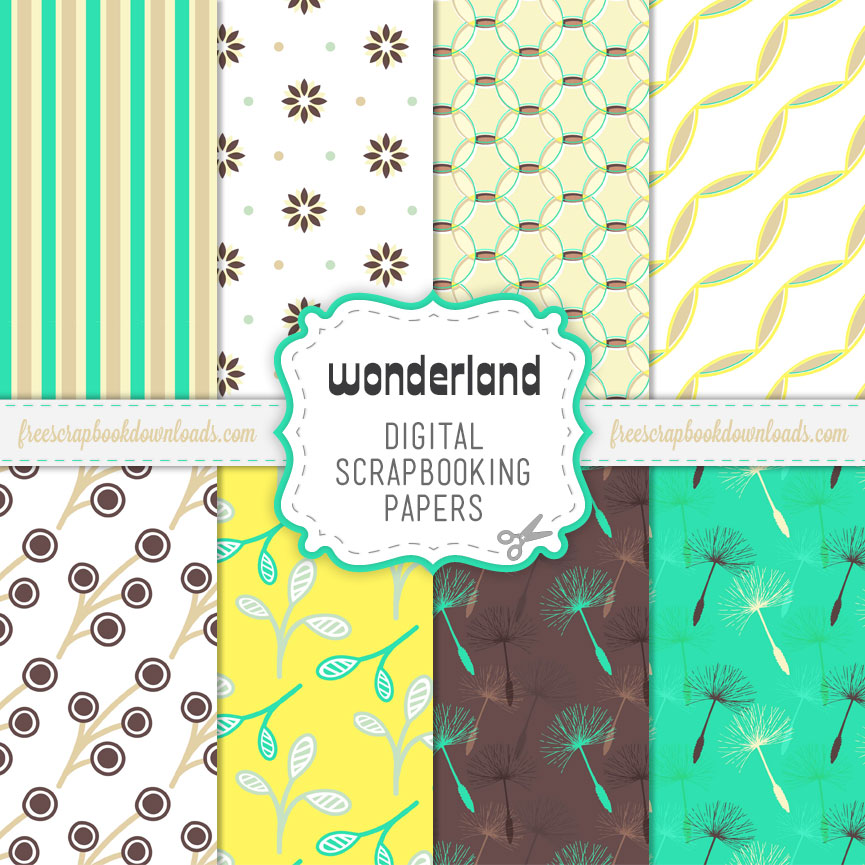 Wonderland Green and Yellow Digital Scrapbooking Paper Pack thumbnail
