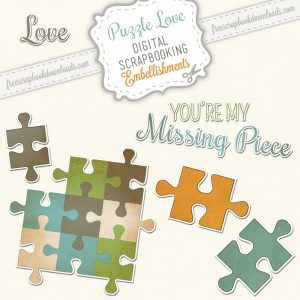 Puzzle Love Scrapbook Embellishments