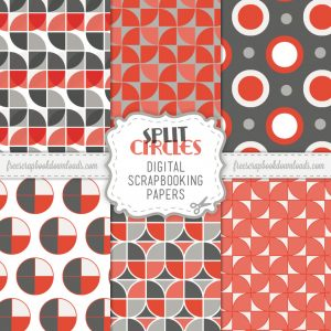 Split Circles Retro Mod Scrapbook Papers Thumbnail