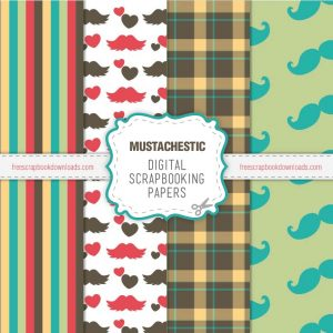 Moustache Scrapbooking Papers