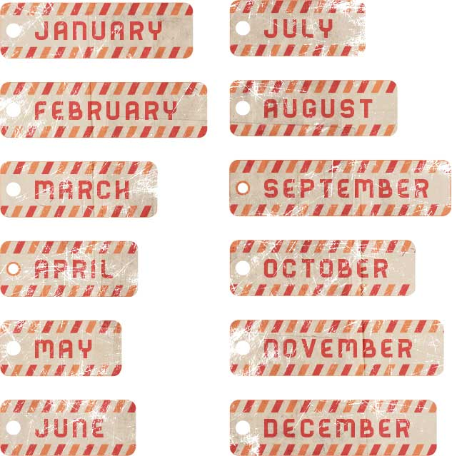 striped months of the year digital scrapbook embellishments