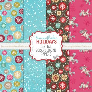 Snowflakes Happy Holidays Christmas Scrapbook Papers
