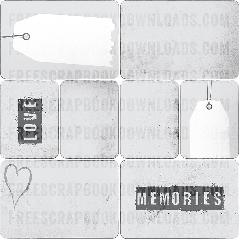 Grunge Gray Journaling Cards for Scrapbooking thumbnail