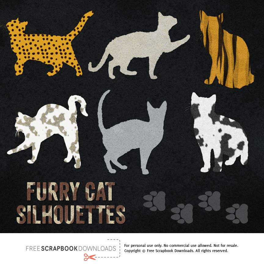 Furry Silhouette Cat Scrapbook Embellishments thumbnail