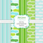 Blue and Green Scrapbook Paper Set