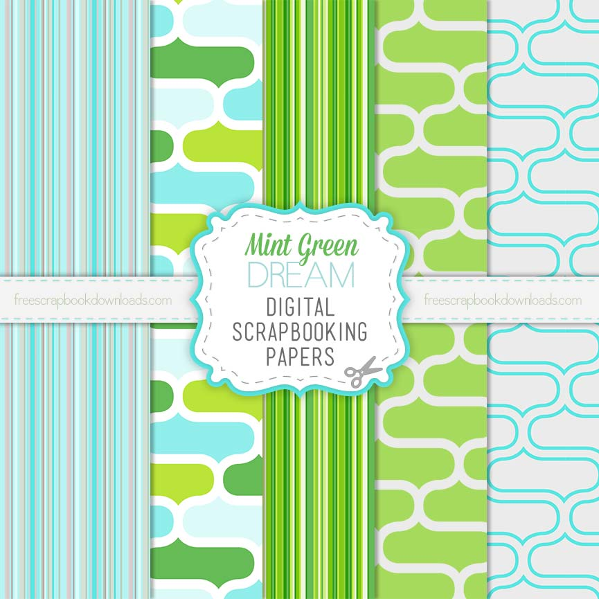 Blue and Green Scrapbook Paper Set thumbnail
