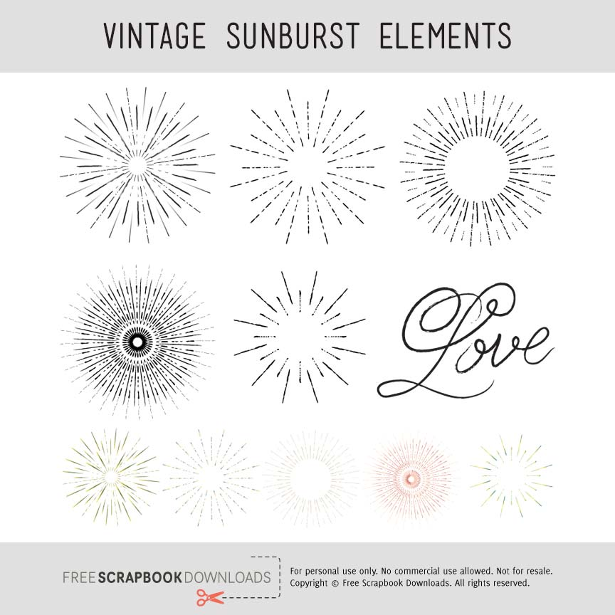 Vintage Weathered Scrapbook Sunburst Embellishments thumbnail