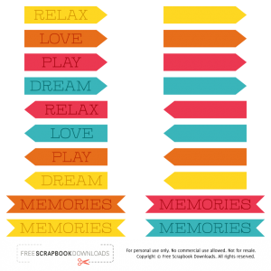 Colorful Free Digital Scrapbooking Labels