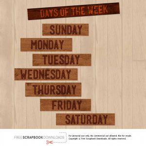 Days of the Week Wood Scrapbook Labels