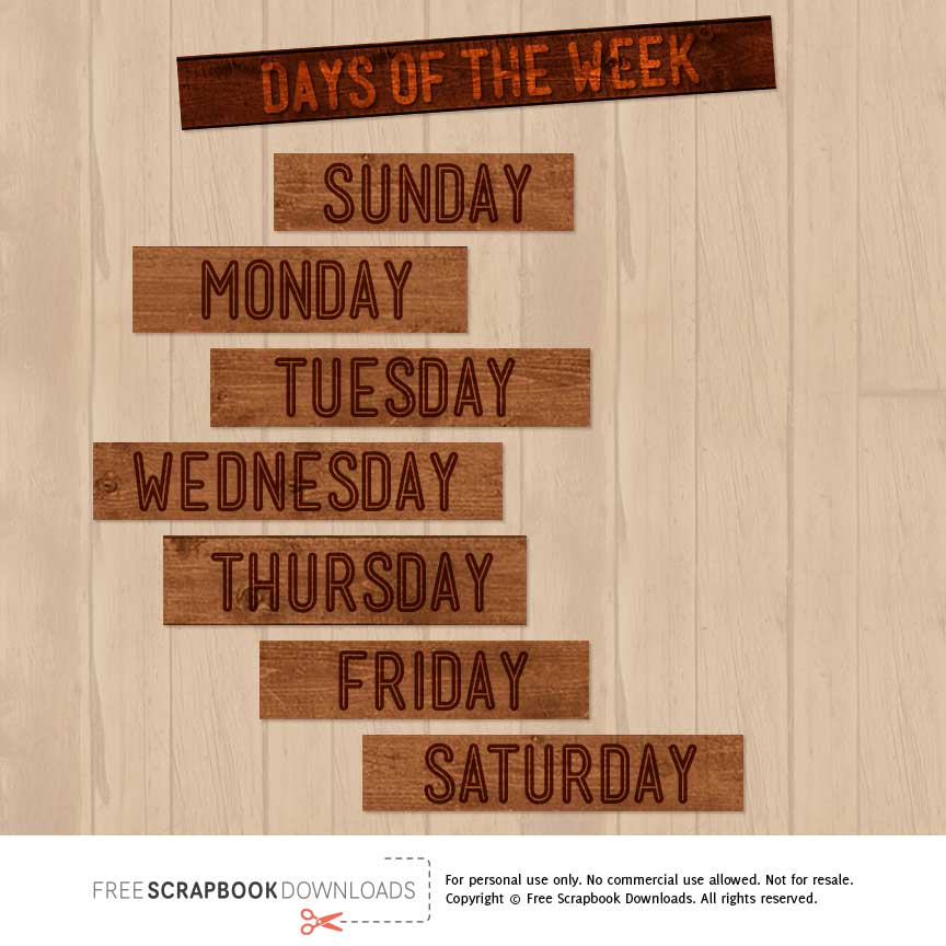 Days of the Week Wood Scrapbook Labels thumbnail