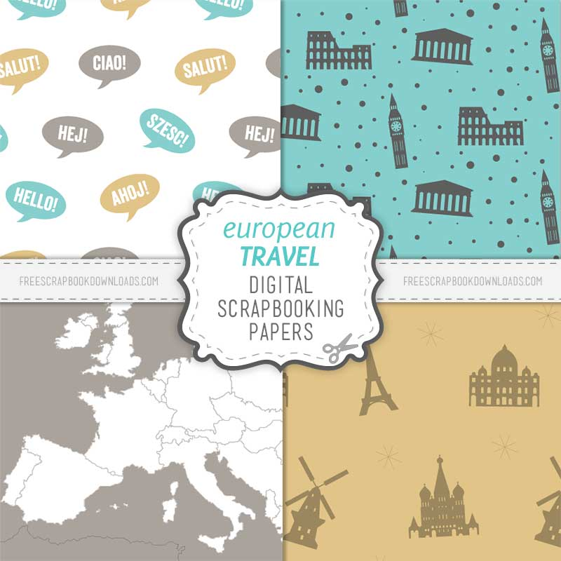 European Scrapbook Travel Paper Set thumbnail