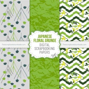 Grunge Floral Japanese Digital Scrapbook Papers