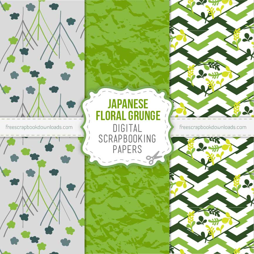 Floral Grunge Japanese Scrapbook Papers thumbnail