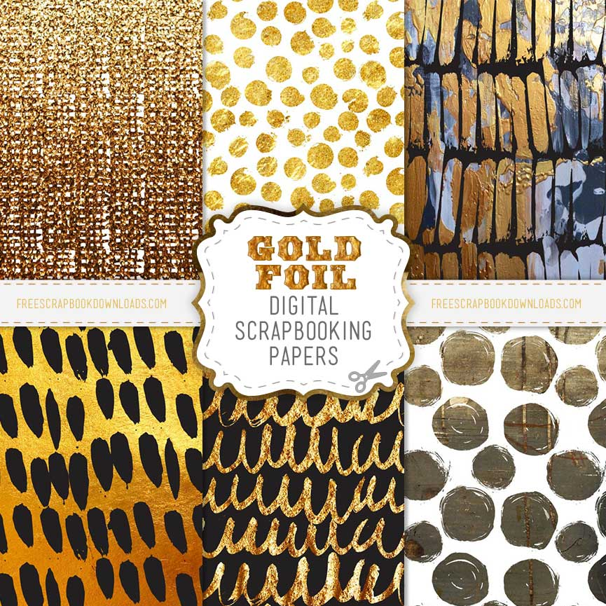 Digital Gold Foil Scrapbook Papers thumbnail