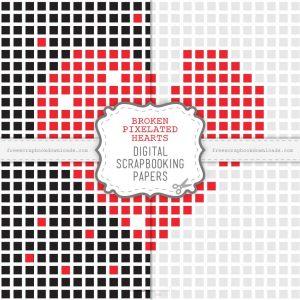 Broken Pixelated Hearts Scrapbook Papers