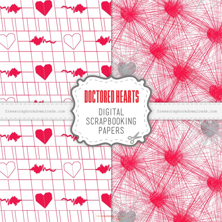 Doctored Hearts Scrapbook Papers thumbnail