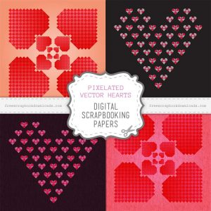 Pixelated Valentine Heart Scrapbook Papers