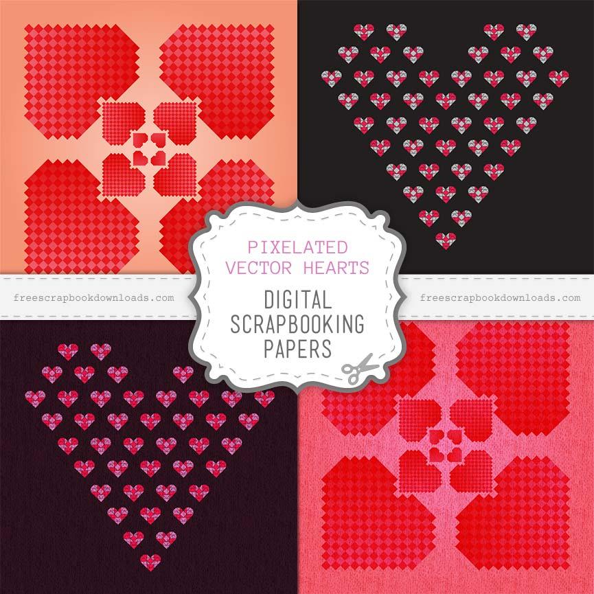 Pixelated Vector Hearts Scrapbook Papers thumbnail