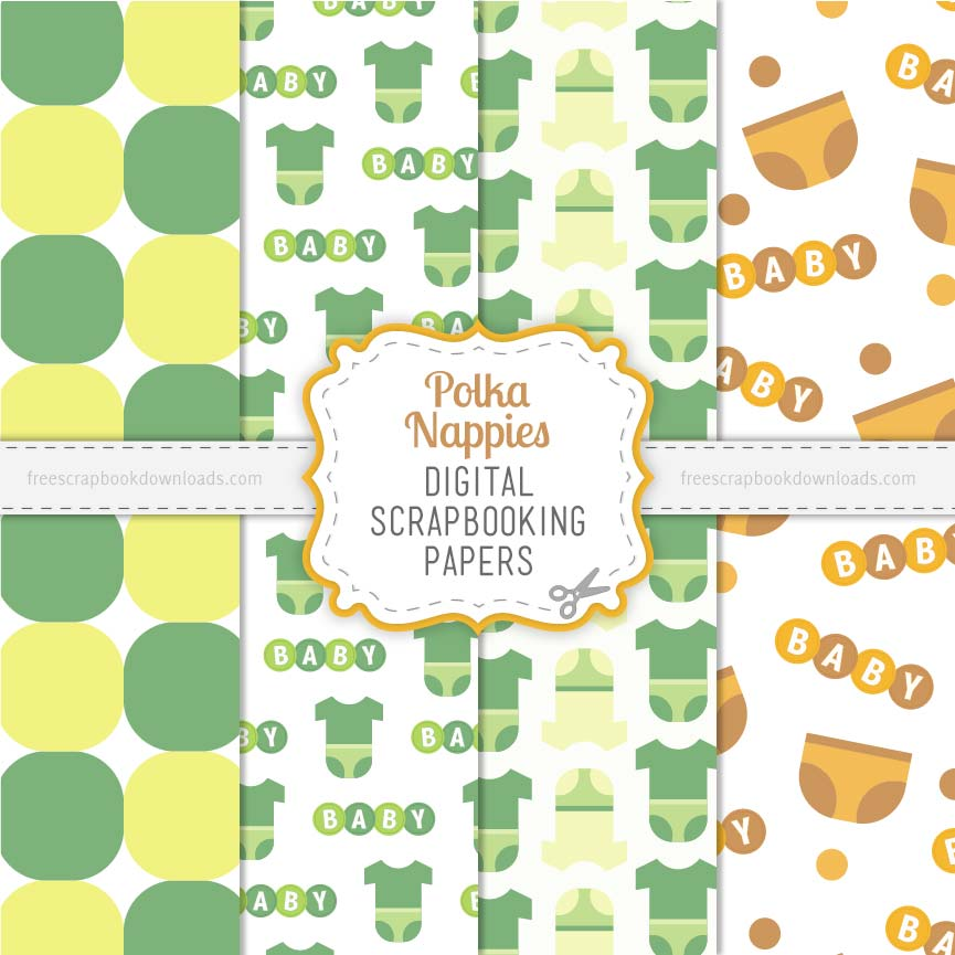 Polka Nappies Digital Scrapbook Papers thumbnail