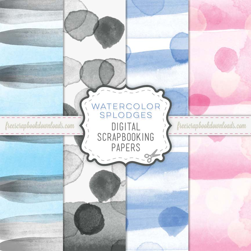 Watercolor Splodges Digital Scrapbook Paper Pack thumbnail