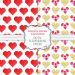 Digital Paper Valentine Scrapbook Papers