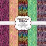 Electric Fluorescent Zebra Scrapbook Papers