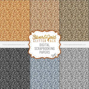 Silver and Gold Digital Glitter Paper