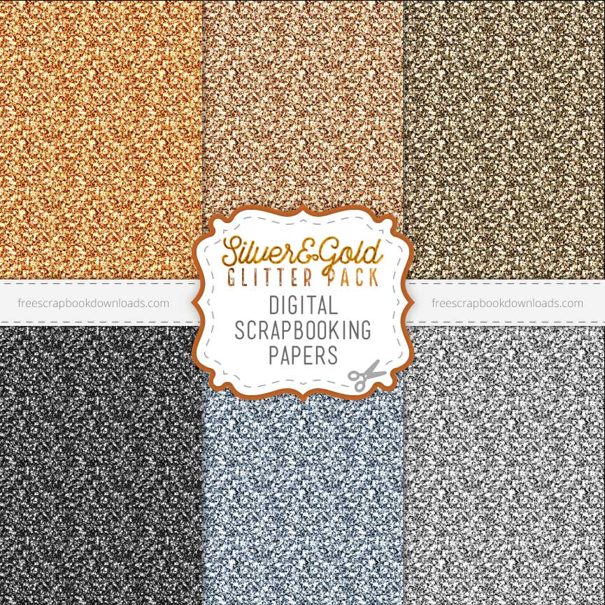 Silver And Gold Digital Glitter Paper Free Scrapbook Downloads