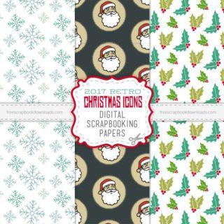 Retro Christmas Icons Scrapbooking Paper
