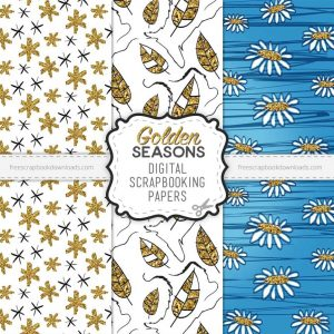 Free Golden Seasons Scrapbook Paper Set