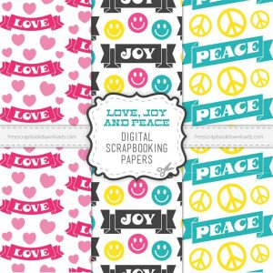 Peace, Love, and Joy Hippie Scrapbook Papers