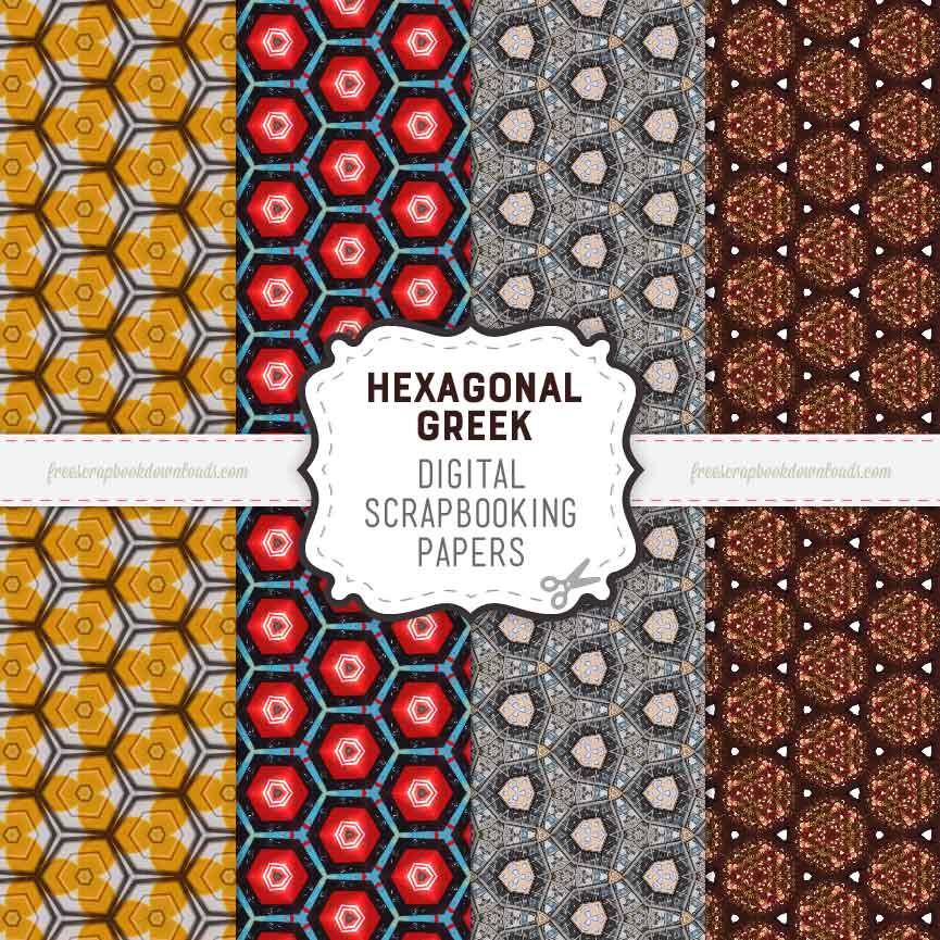 Greek Hexagonal Digital Scrapbook Papers