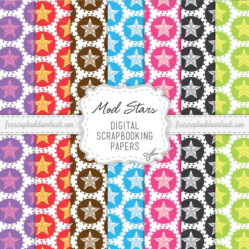 Mod Stars Large Scrapbooking Papers thumbnail