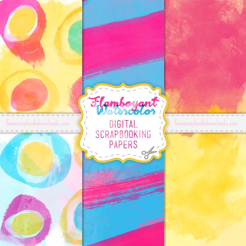 Flamboyant Watercolor Digital Papers thumbnail