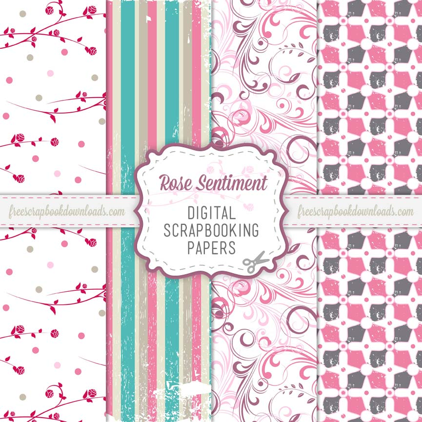 free digital pink romantic scrapbooking paper pack