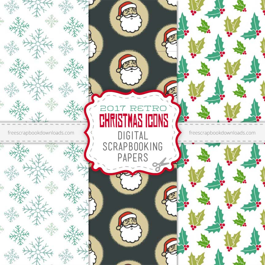 2017 RETRO CHRISTMAS ICONS SCRAPBOOKING PAPER